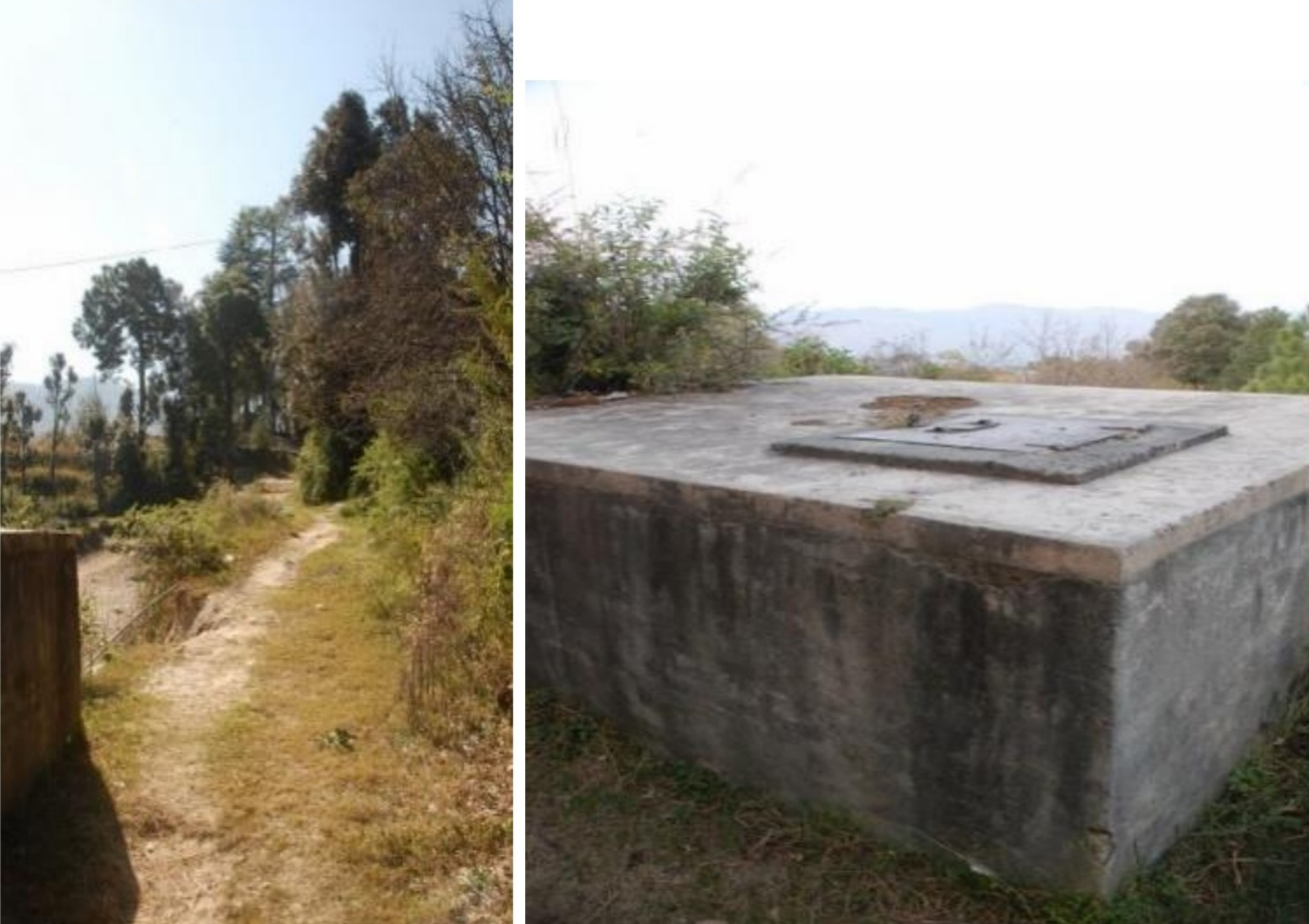 Shows water tank and road adjecent to it before destruction